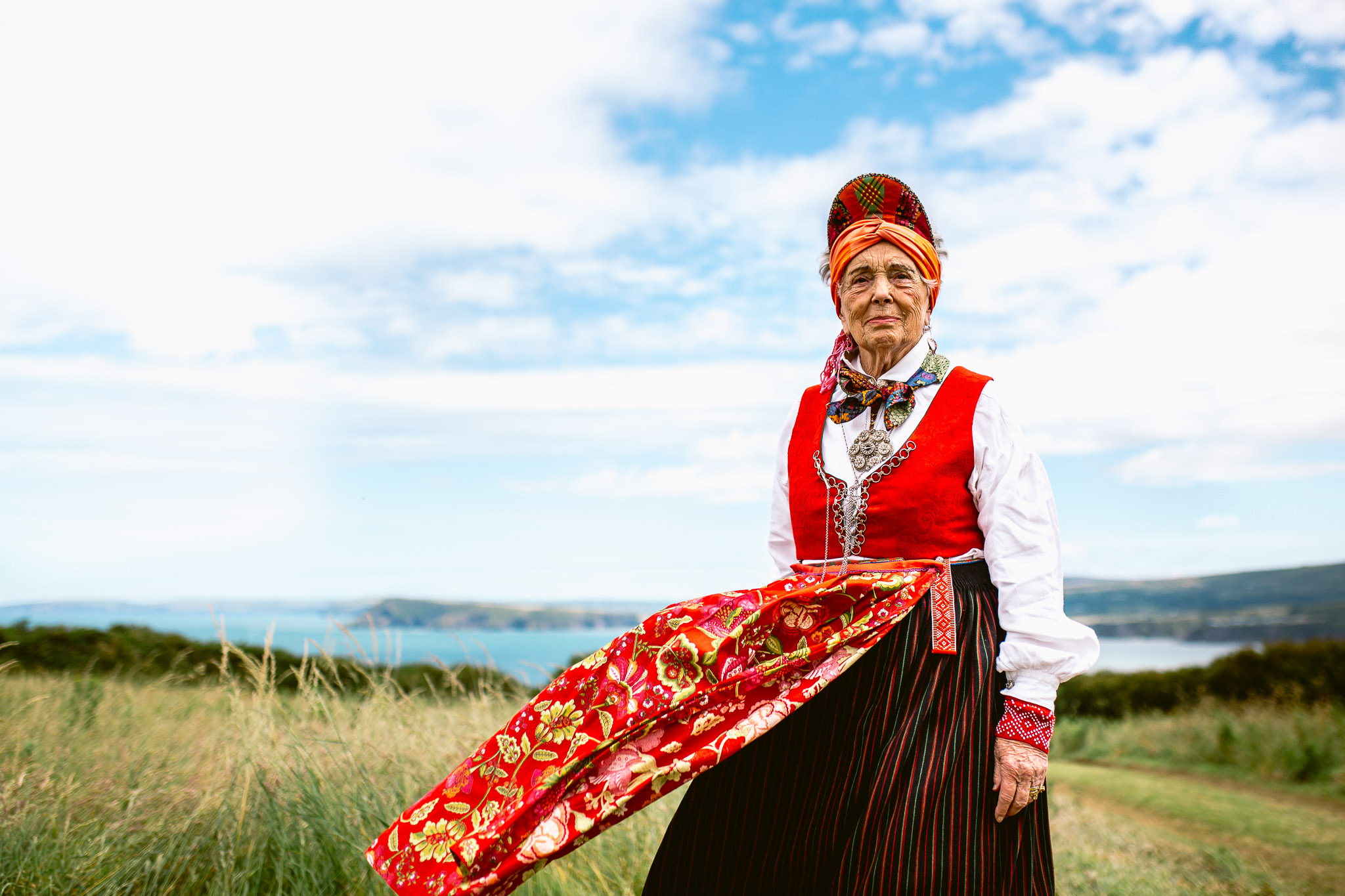 grandma of the bride in her traditional Norwegian dress at wedding best of 2017