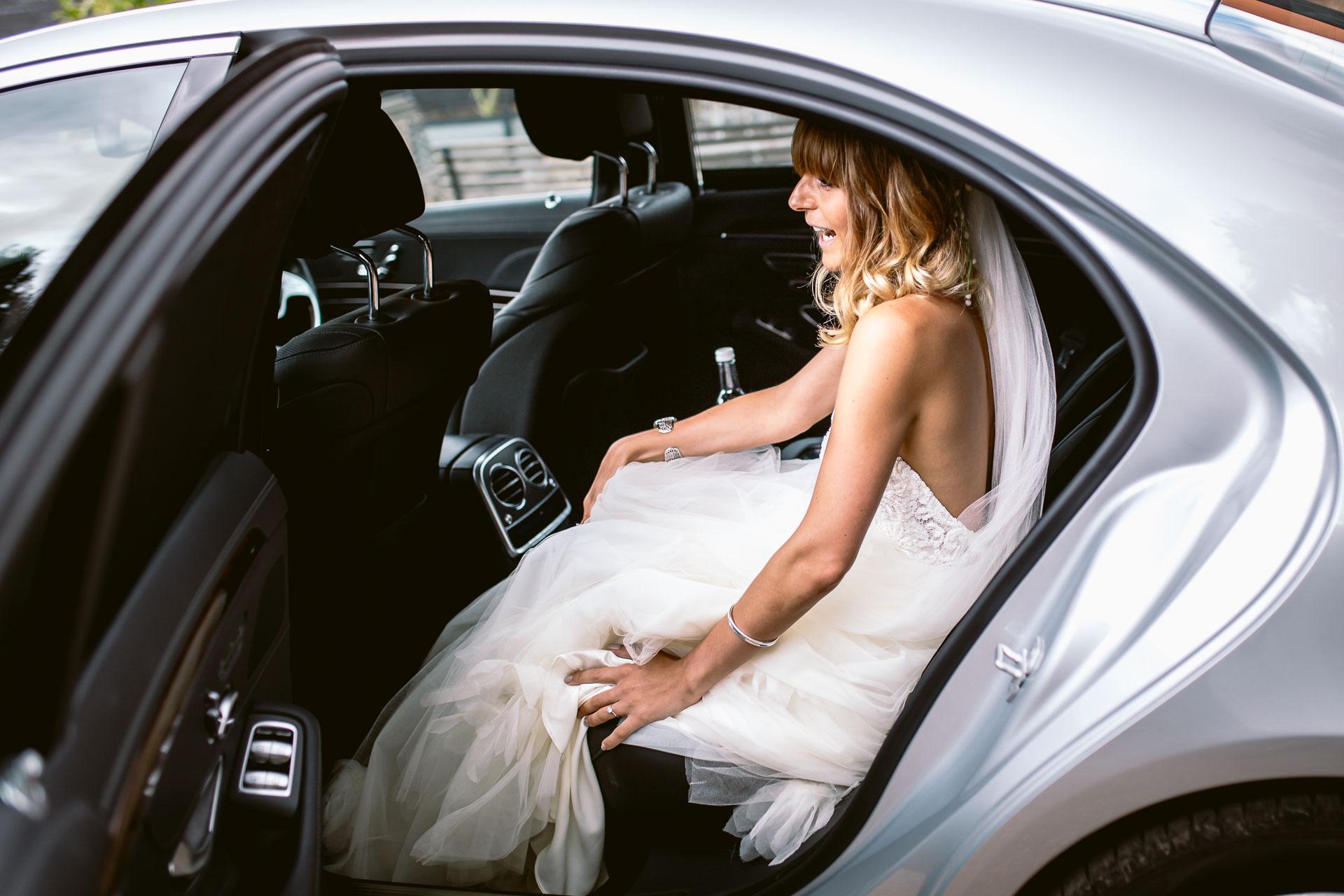 preston court boho wedding alexia and dan bride arrives at the venue in wedding car